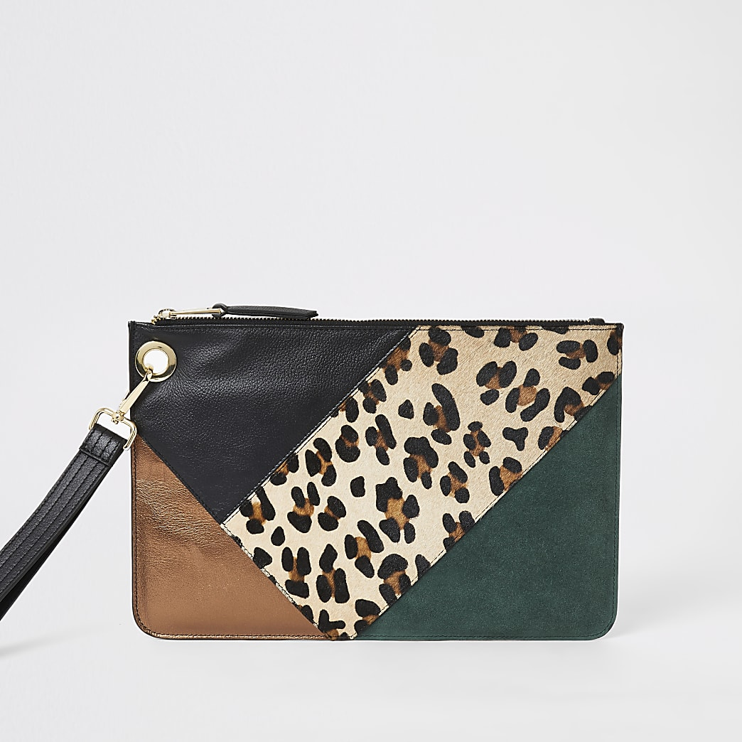 Green leather blocked clutch bag