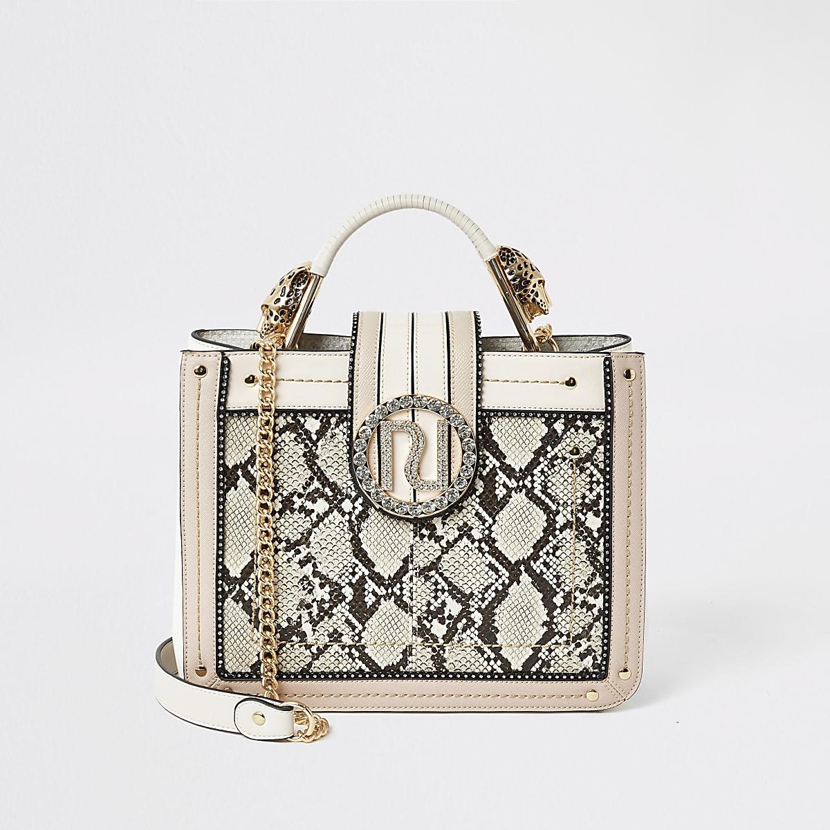 Pink snake embossed embellished tote bag