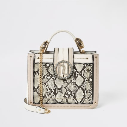 Pink snake embossed embellished tote bag