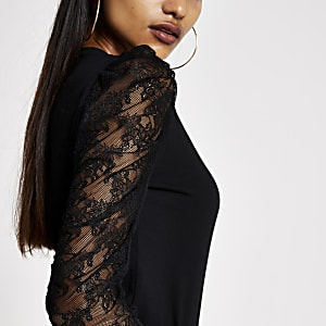 Petite black long lace puff sleeve T-shirt