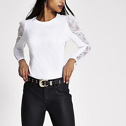 Petite white lace long puff sleeve T-shirt
