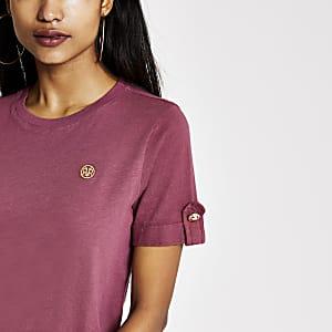 Petite dark pink RI rolled sleeve T-shirt