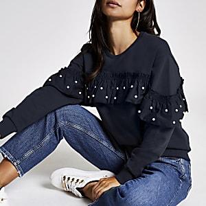 RI Petite - Marineblauw sweatshirt met ruches