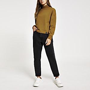 Petite – Gelber, hochgeschlossener Pullover