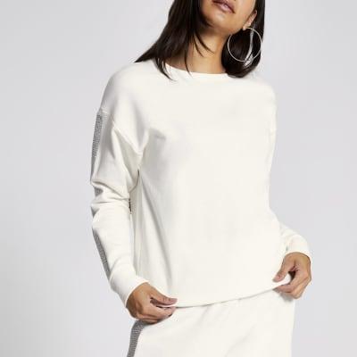 Cream diamante embellished sleeve sweatshirt