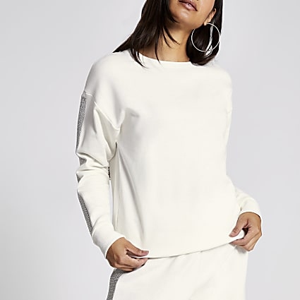Cream diamante embellished sleeve sweatshirt