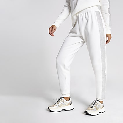 Cream diamante embellished side joggers