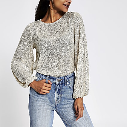 Petite silver sequin long sleeve top