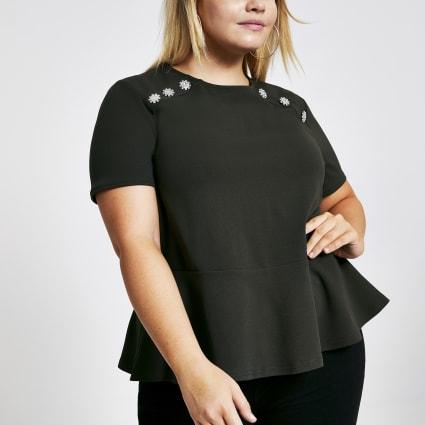 Plus khaki button shoulder peplum top