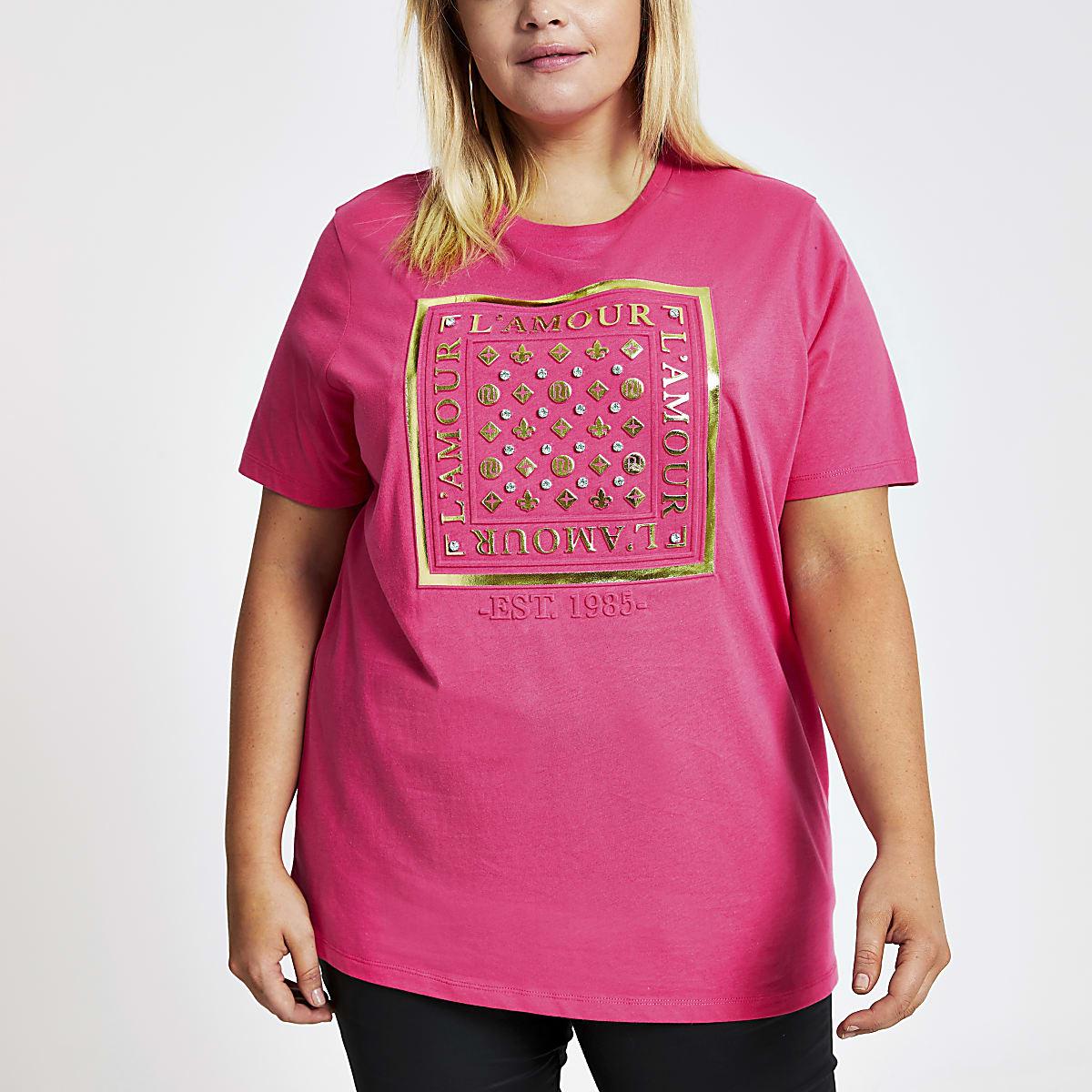 Plus pink 'L'amour' embellished T-shirt