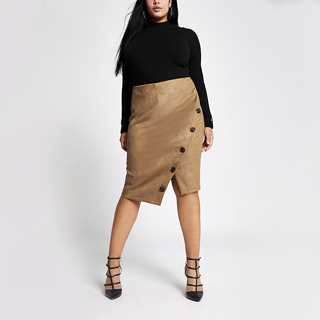 Plus brown suede button front pencil skirt