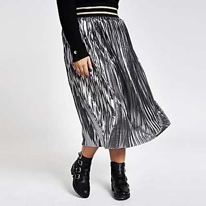 Plus silver metallic pleated midi skirt