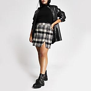 RI Plus - Zwarte geruite mini-rok met knopen voor