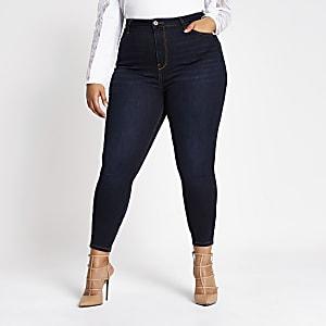 RI Plus - Hailey - Donkerblauwe jeans met hoge taille