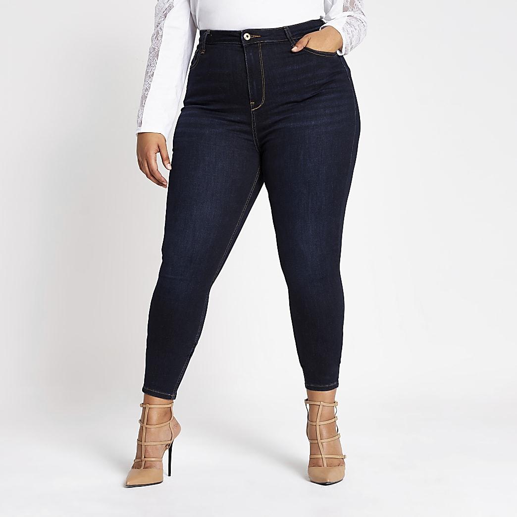 Plus – Hailey – Jean taille haute bleu foncé