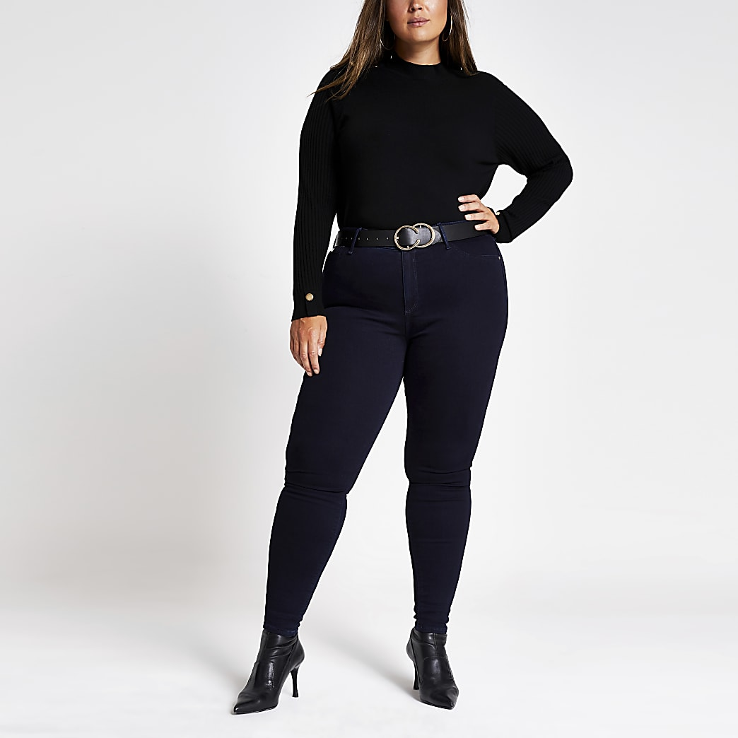 RI Plus - Marineblauwe Molly jeans met halfhoge taille