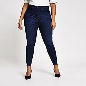 Plus dunkelblaue Kaia-Disco-Jeans mit hohem Bund