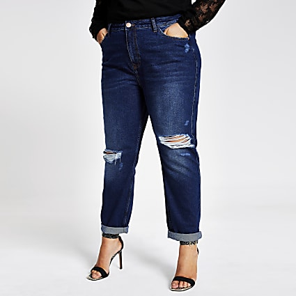 Plus dark denim ripped Mom jeans
