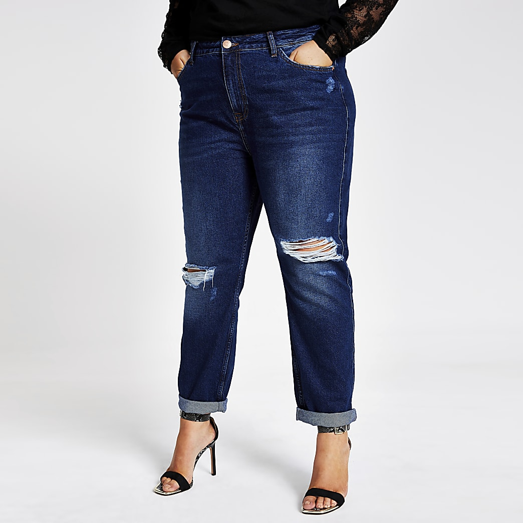 RI Plus - Mom - Donkere ripped denim jeans
