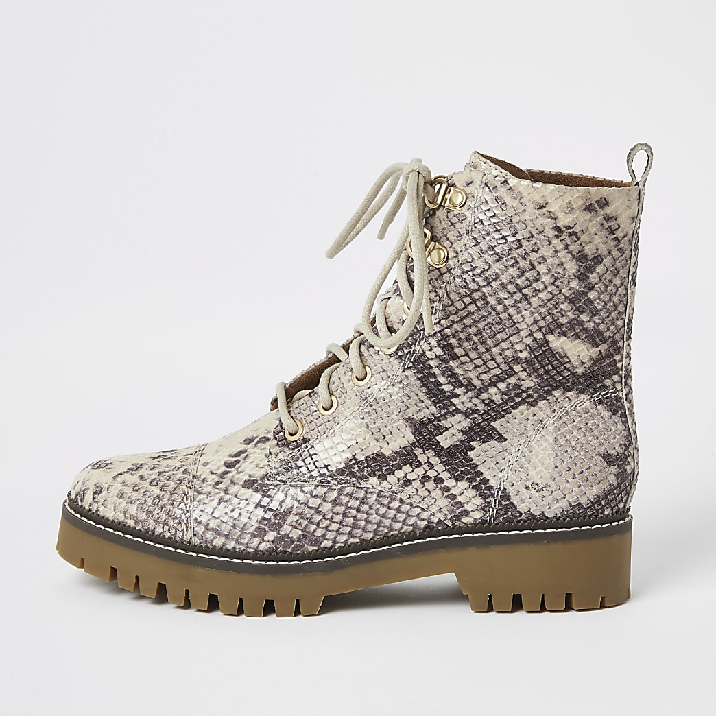 Beige leather snake print lace-up boots