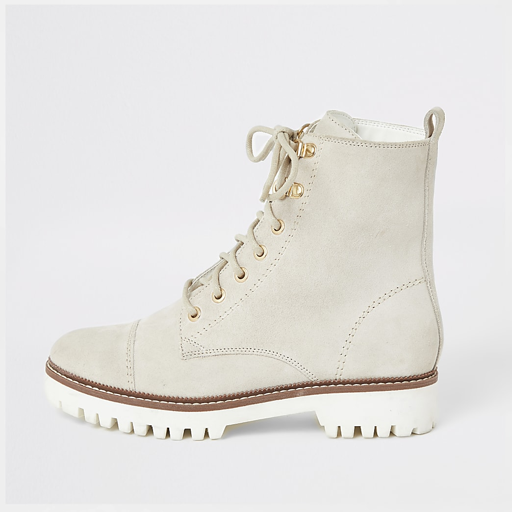 White suede lace-up ankle boots