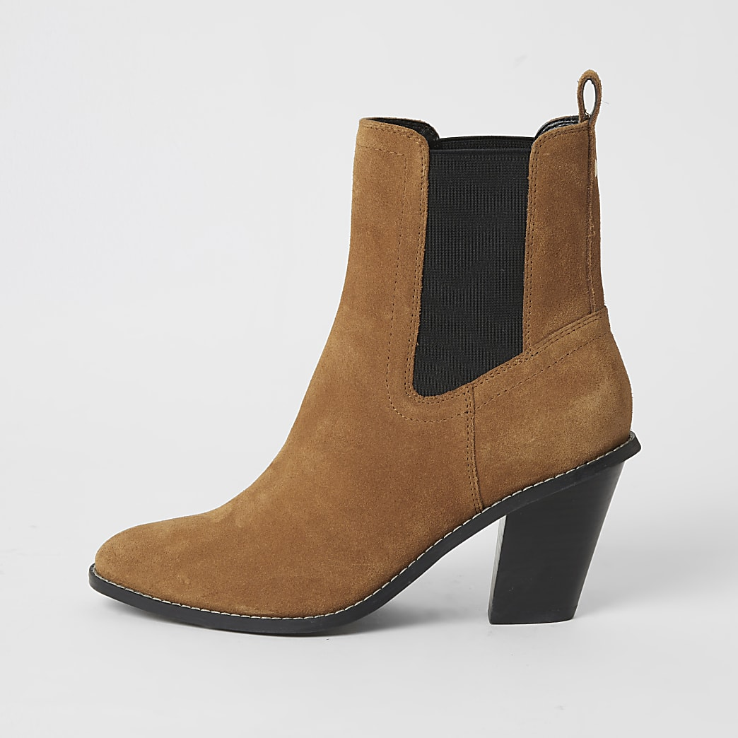 Brown suede western heeled boots