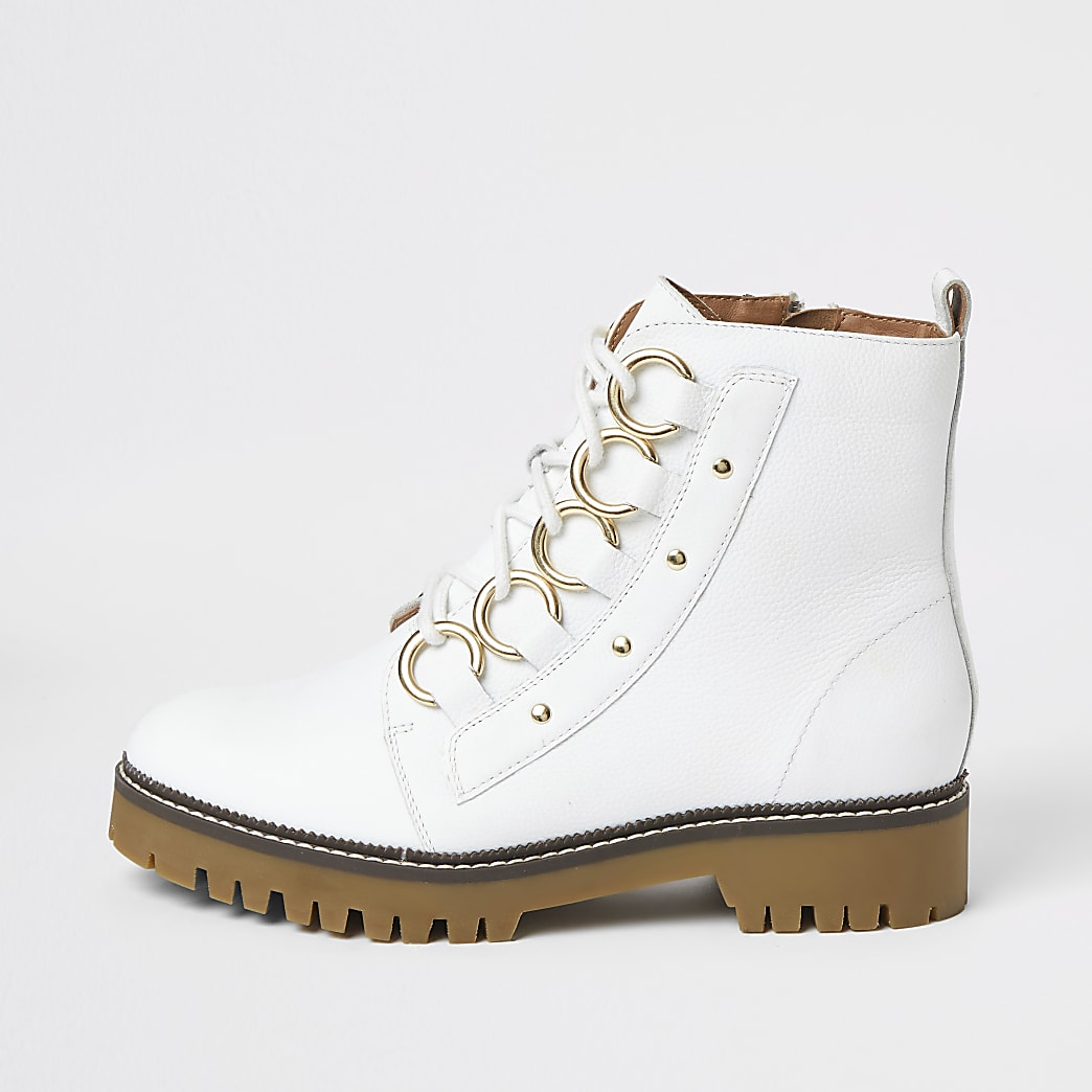 White leather eyelet lace-up wide fit boots