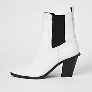 Bottes western en cuir blancà talon haut