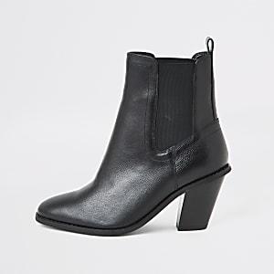 Zwarte western laarzen met hoge hak en brede pasvorm