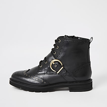 Black leather lace-up brogue boots