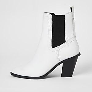 Weiße Western-Stiefeletten aus Leder im lockieren Schnitt