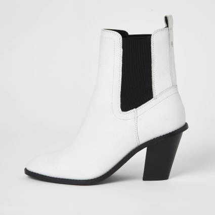 White leather western heeled ankle boots