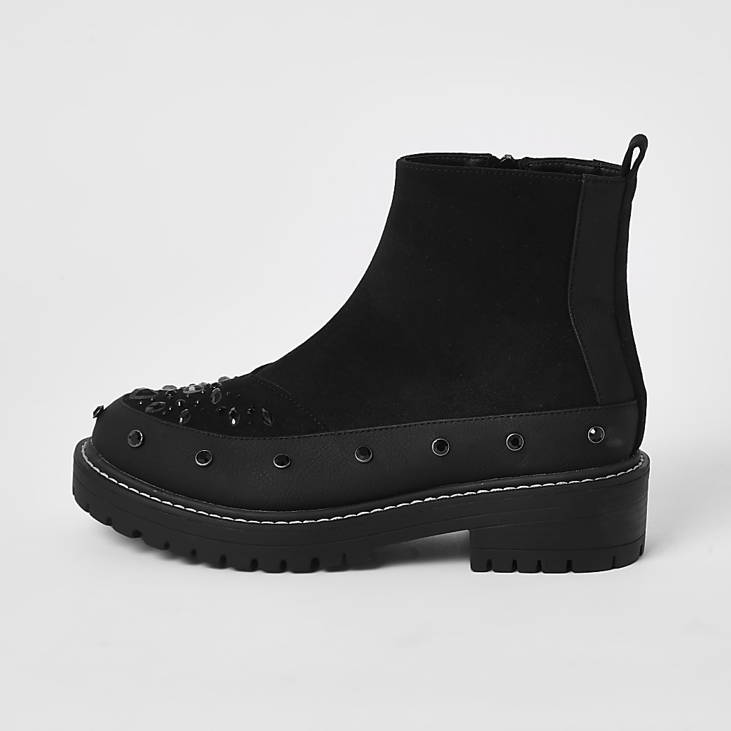 Black embellished chunky ankle boots