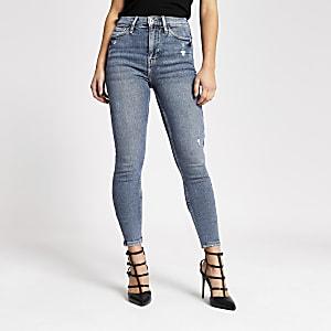 RI Petite - Hailey - Blauwe high rise jeans
