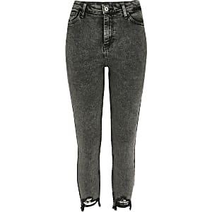 Petite – Dunkelgraue Hailey-Jeans mit hohem Bund