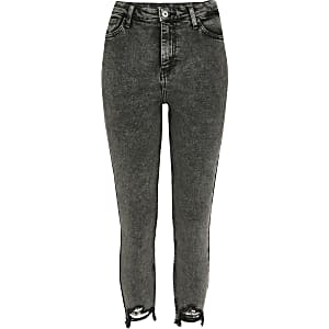 RI Petite - Hailey - Donkergrijze jeans met hoge taille