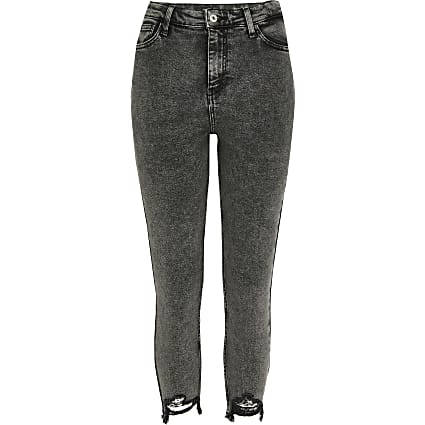 Petite dark grey Hailey high rise jean