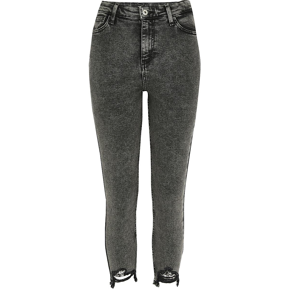 RI Petite - Hailey - Donkergrijze jeans met hoge taille