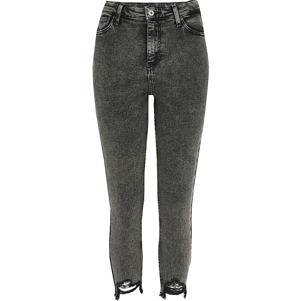 Petite dark grey Hailey high rise jean