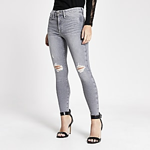 Petite – Graue Molly-Jeggings mit halbhohem Bund im Used Look