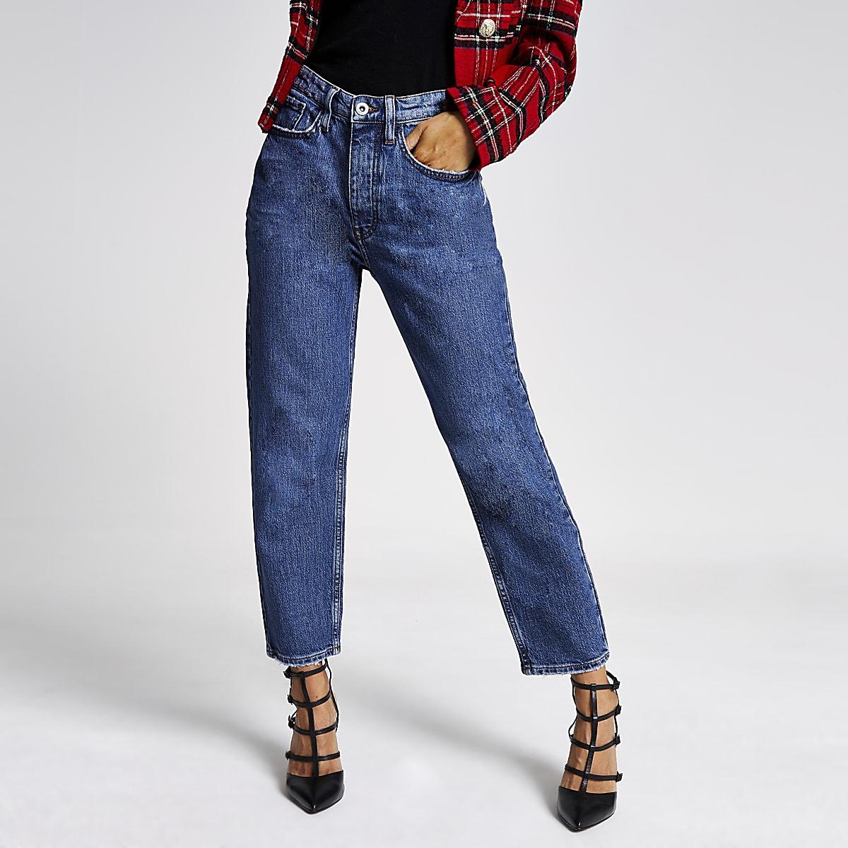 Blauwe denim jeans met rechte broekspijpen