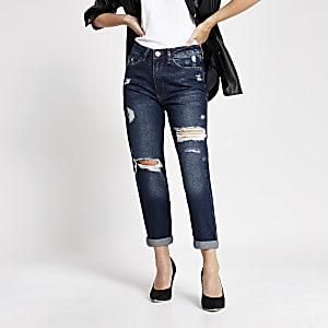 Petite – Jeans Momtaille haute déchirésbleu foncé