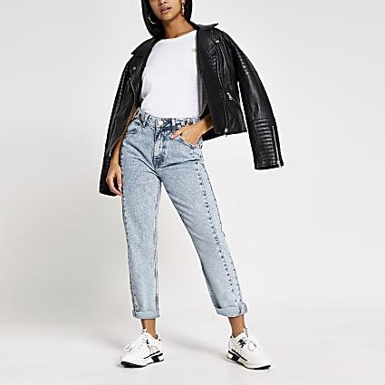 Petite light blue Mom high rise jeans