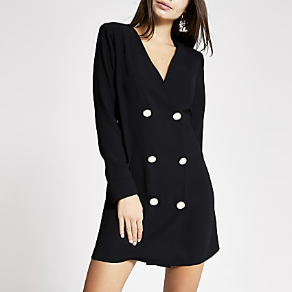 Black long sleeve button front swing dress