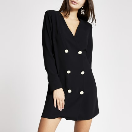 Black blazer button front swing dress