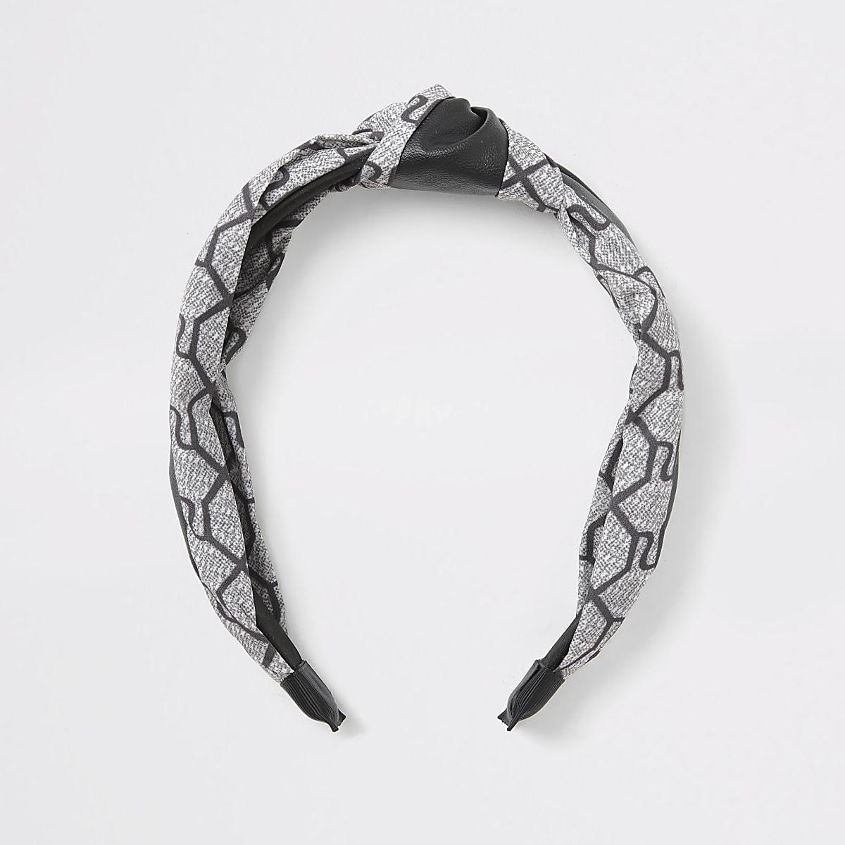 Serre-tête nœud gris imprimé monogramme RI