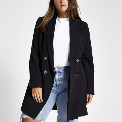 Plus black double breasted blazer