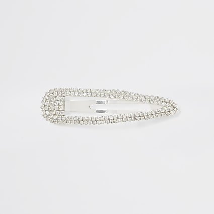 Silver colour diamante paved hair clip
