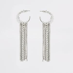Strass-Creolen in Silber im Quasten-Design