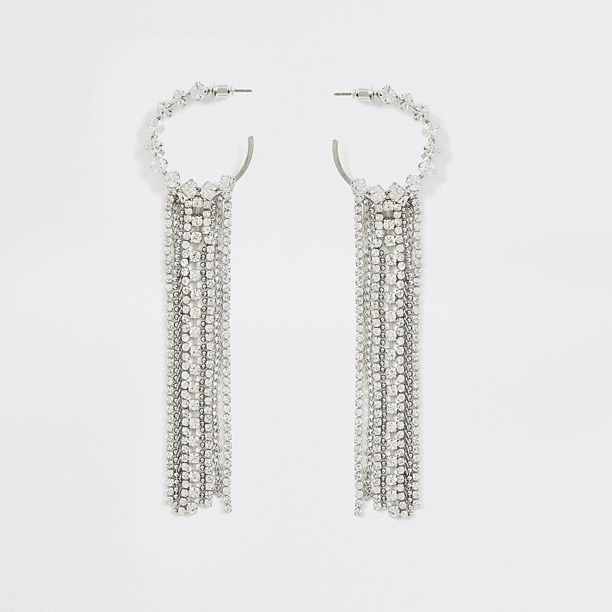 Silver colour diamante tassel hoop earrings
